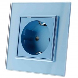 Gniazdko pojedyncze 230v 16A bez Bolca niebieskie