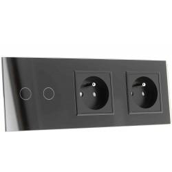 Włącznik dotykowy szklany podwójny z podwójnym gniazdem elektycznym 230v sterowany na pilota z Bolcem (Nie wymaga żyły N) czarny