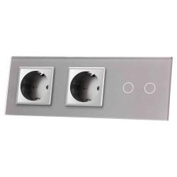 Włącznik dotykowy szklany podwójny z podwójnym gniazdem elektycznym 230v bez Bolca szary