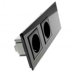 Włącznik dotykowy szklany podwójny z podwójnym gniazdem elektycznym 230v bez Bolca czarny