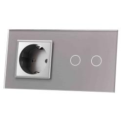Włącznik dotykowy szklany podwójny z pojedynczym gniazdem elektycznym 230v bez Bolca szary