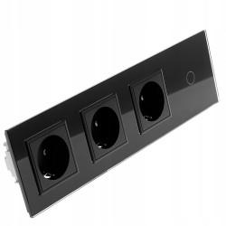 Włącznik dotykowy szklany pojedynczy z potrójnym gniazdem elektycznym 230v bez Bolca czarny
