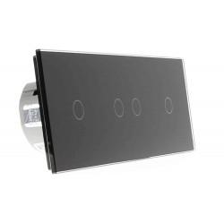 Włącznik dotykowy szklany poczwórny 1+2+1 czarny
