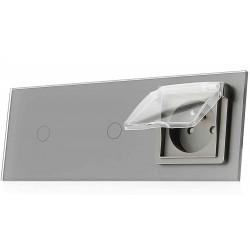Włącznik dotykowy szklany podwójny z pojedynczym gniazdem elektycznym 230v 1+1 z Bolcem i nakładką bryzgoszczelną szary