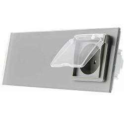 Włącznik dotykowy szklany podwójny z pojedynczym gniazdem elektycznym 230v 1+1 bez Bolca z nakładką bryzgoszczelną szary