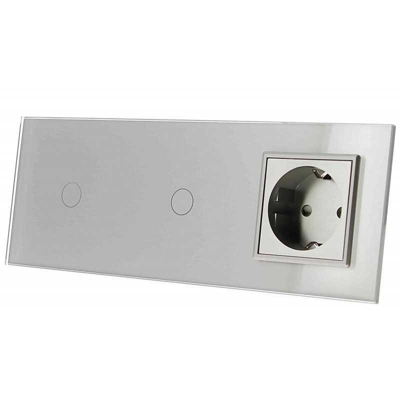 Włącznik dotykowy szklany podwójny z pojedynczym gniazdem elektycznym 230v 1+1 bez Bolca szary