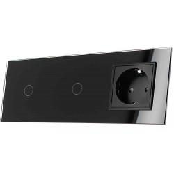 Włącznik dotykowy szklany podwójny z pojedynczym gniazdem elektycznym 230v 1+1 bez Bolca czarny