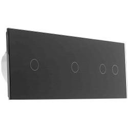 Włącznik dotykowy szklany poczwórny 1+1+2 czarny