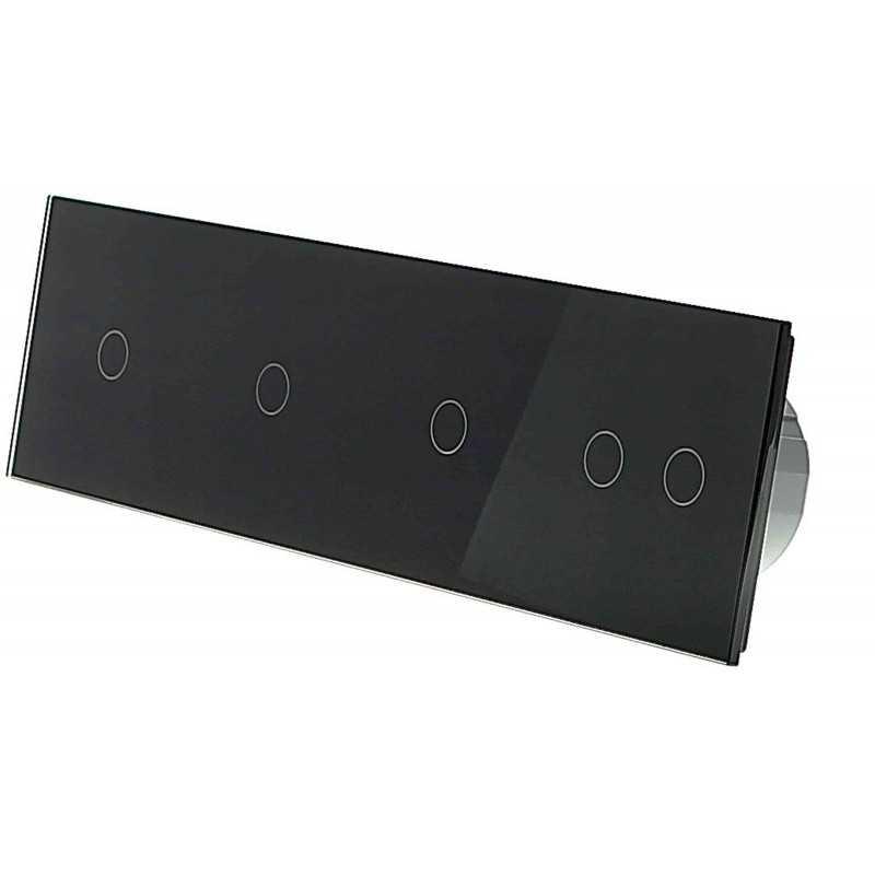 Włącznik dotykowy szklany pięciokrotny 1+1+1+2 czarny