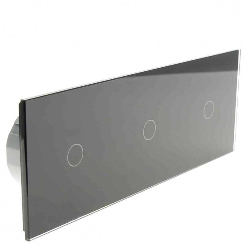 Włącznik dotykowy szklany potrójny 1+1+1 czarny