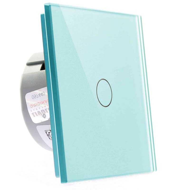 Włącznik dotykowy szklany pojedynczy (Nie wymaga żyły N) niebieski