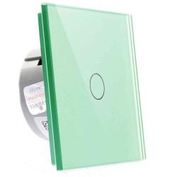 Włącznik dotykowy szklany pojedynczy (Nie wymaga żyły N) zielony