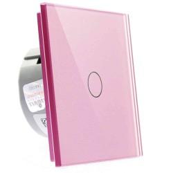 Włącznik dotykowy szklany pojedynczy (Nie wymaga żyły N) różowy