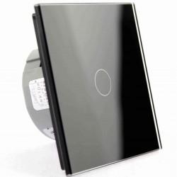 Włącznik dotykowy szklany pojedynczy (Nie wymaga żyły N) czarny