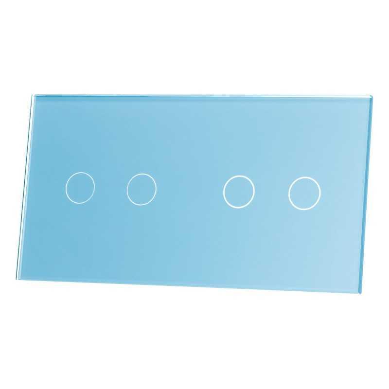 Panel szklany Livolo poczwórny 2+2 niebieski