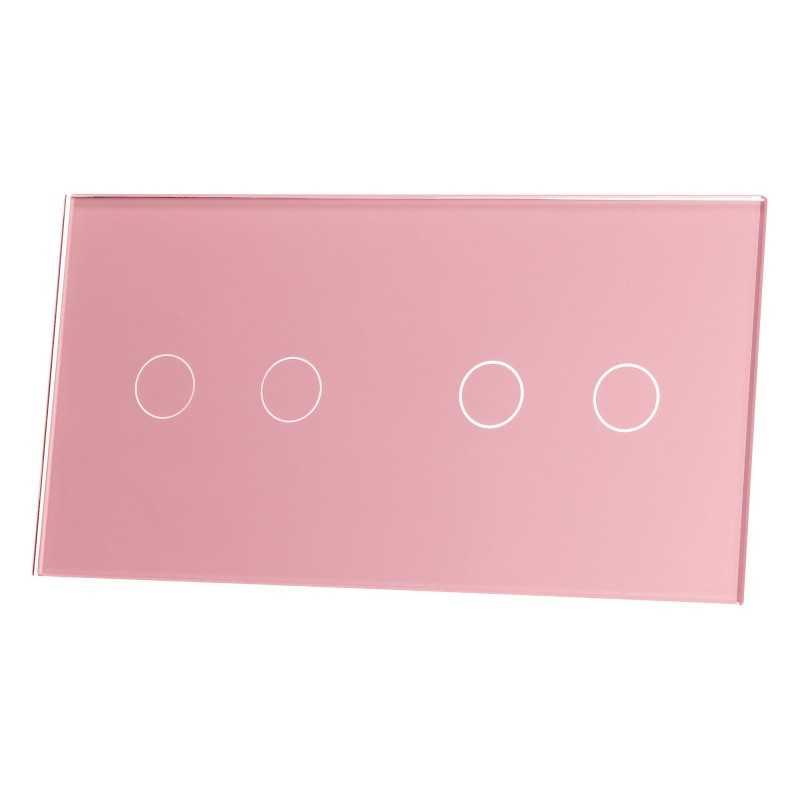 Panel szklany Livolo poczwórny 2+2 różowy