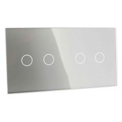 Panel szklany Livolo poczwórny 2+2 szary