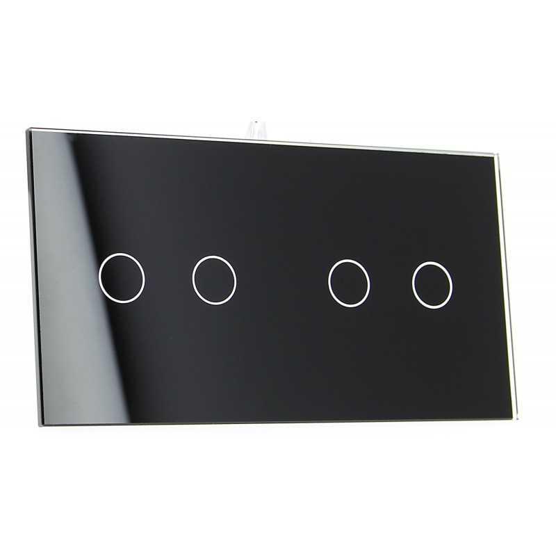 Panel szklany Livolo poczwórny 2+2 czarny