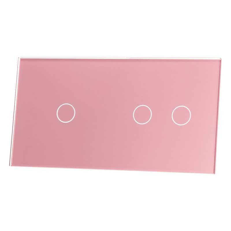 Panel szklany Livolo potrójny 1+2 różowy